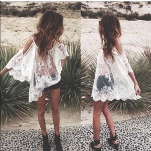 Tops - Beach lace swim cover up